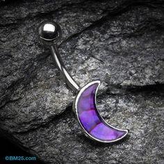 Purple Daze Crescent Moon Belly Button Ring