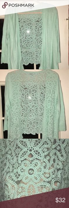 Teal lace back cardigan American Eagle teal cardigan with a scalloped hem in the back American Eagle Outfitters Sweaters Cardigans