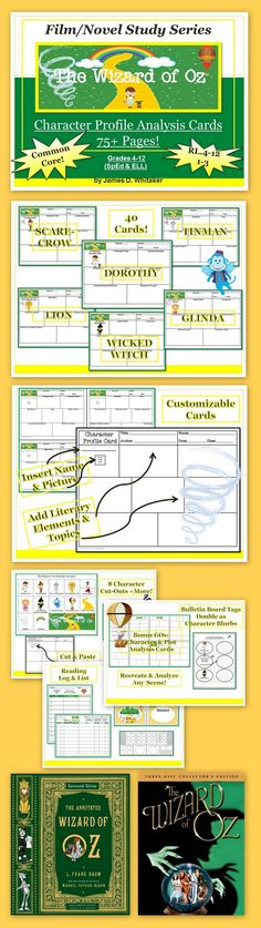 """Amaze your students with this Alluring and Enchanting activity for the Timeless Classic--The Wonderful Wizard of Oz. Use the book, film, or both! Pages of Common Core Resources! I'd use a script instead for theatre. Then the film and """"The Wiz? 5th Grade Ela, Third Grade, Wizard Of Oz Characters, Teaching Theatre, Drama, Leader In Me, Film Studies, Thematic Units, Classic Books"""