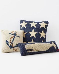 Nautical Hooked Wool Pillow Cover Collection! Love!  www.Nectarsunglasses.com