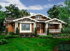 Plan 23264JD: Vaulted One-Story Bungalow