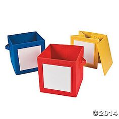 Storage Cubes with Dry Erase boards for labels!  Brilliant!  Perfect for holding kids' school stuff at home or for classroom organization of supplies, classroom library books, etc.  I love it!