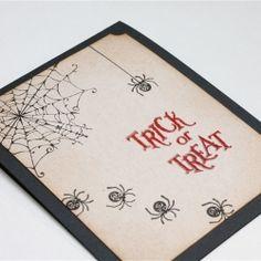 Spiders crawl all over this creepy handmade Halloween card.
