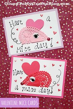 Have a MICE Day – Doily Mice Cards For Valentine's Day Valentine's Day Crafts For Kids, Valentine Day Crafts, Mice, Doilies, Holiday, Cards, Vacations, Computer Mouse, Holidays