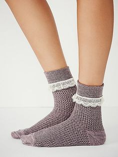 Rodeo Foldover Anklet   Textured two-tone foldover ankle socks with sweet lace trim.  *By Free People