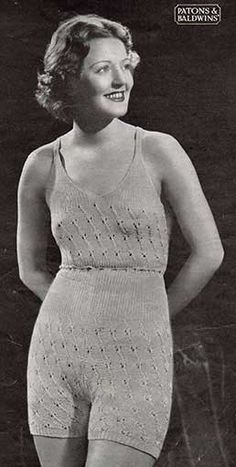 01c285319bf229 Free knitting pattern for vintage vest and knickers with lace patterning  and drawstring waist.