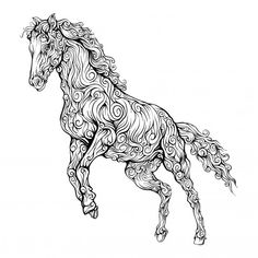 Horse Decorative In Hand Drawing Wall Stickers Animals, Wall Decor Stickers, Wall Decals, Cup Of Tea Tattoo, Calligraphy Drawing, Thai Art, Moose Art, How To Draw Hands, Abstract Art
