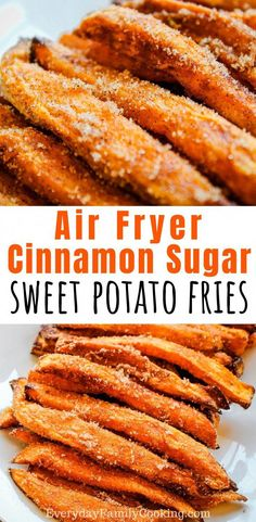 Air Fryer Sweet Potato Dessert Fries The best air fryer easy dessert recipe. These cinnamon sugar sweet potato fries are sweet and delicious. You can make these for one or for your entire family to eat up! Air Fryer Recipes Dessert, Air Fryer Oven Recipes, Sweet Potato Dessert, Sweet Potato Recipes, Homemade Sweet Potato Fries, Chicken Recipes, Sweet Potato Fries Healthy, Sweet Potato Chips, Vegetarian Recipes
