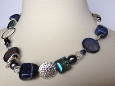 Sodalite Nugget Necklace denim blue crystals shell by Intentional, $69.00