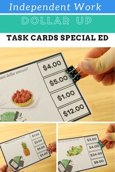 Up Task Cards: Special Education: 6 Levels Next dollar up task cards are the perfect way to work on money during independent work stations.Next dollar up task cards are the perfect way to work on money during independent work stations. Life Skills Classroom, Special Education Classroom, Math Classroom, Classroom Activities, Classroom Decor, Vocational Tasks, Work Task, Writing Worksheets, Task Boxes