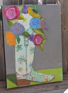 Cowgirl boot  floral boot wedding boot bouquet boot by LeissnerArt, $130.00