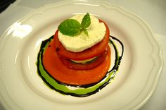 Caprese Salad with Confit Tomato Caprese Salad, Panna Cotta, Gem, Ethnic Recipes, Food, Dulce De Leche, Meal, Eten, Jewel