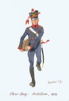 Artigliere di Cleves Berg German Uniforms, Napoleonic Wars, Empire, Military, History, Fictional Characters, Warriors, Drawings, Soldiers
