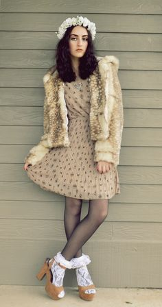 Faux fur coat, pleated dress, lace socks and flower hairband <3