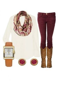 Fall Fashion - Burgundy skinnys