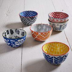 Folk Pad Printed Bowls, Leaves, Dark Blue/Yellow