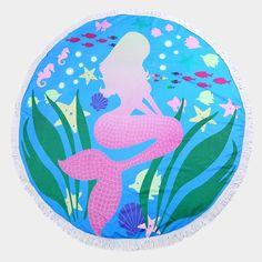 Round Beach Towels & Blankets - Mermaids, Anchors, Fun!