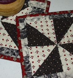 Quilted Mug Rug Black Red and White  8 x 9 by TennesseeQuiltworks, $7.00