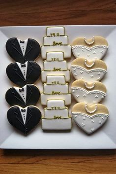 Wedding Cookies cute idea for a shower - these are just heart-shaped cookies!cute idea for a shower - these are just heart-shaped cookies! Wedding Shower Cookies, Wedding Cake Cookies, Bridal Shower, Decorated Wedding Cookies, Heart Shaped Wedding Cakes, Wedding Sweets, Wedding Favours, Wedding Souvenir, Wedding Bands