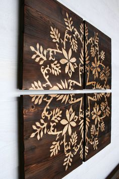 Large Wood Burned Wall Art Vines and Flower Design 32 X 32