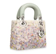 Adorable floral-embroidered satin 'Lady Dior' micro bag