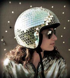 Disco ball helmet. A