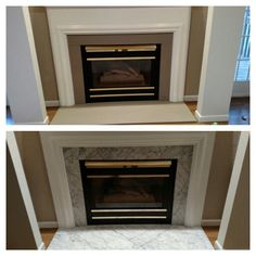 Never liked my marble fireplace. Was excited to find Annie Sloan Chalk paint in Coco. No prep needed. Very easy to use. Marble Fireplace Surround, Fireplace Logs, Simple Fireplace, Paint Fireplace, Marble Fireplaces, Fireplace Surrounds, Modern Fireplaces, Fireplace Ideas, Living Room Remodel