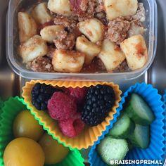 Paleo gnocchi, ground turkey, marinara with fresh fruit and veggies