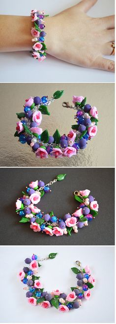 Charm bracelet Gift idea Bracelet|for|her Gift|for|girls Summer jewelry Gift|for|women Pink bracelet Birthday gift Polymer clay Jewelry boho