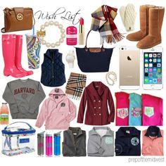 Wish List by prepofthemidwest on Polyvore featuring Lilly Pulitzer, UGG Australia, Hunter, Longchamp, MICHAEL Michael Kors, Kate Spade, Barbour, Burberry, The North Face and Vera Bradley