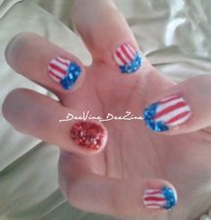 patriotic nails, flag nails, flag nailart, patriotic nailart, American flag nailart, American flag