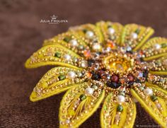 """Brooch """"Sunflower"""" – shop online on Livemaster with shipping"""