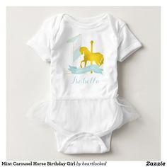 Mint Carousel Horse Birthday Girl Tee Shirt