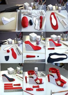 You will need: 1 of red fondant. 1 teaspoon of Tylose (CMC) of black fo… You will need: 1 of red fondant. 1 teaspoon of Tylose (CMC) of black fondant. Template Nife cornflour smover rolling pin fondant glue (Tylose with water) wood skewers wire Fondant Shoe Tutorial, Cake Tutorial, Fondant Toppers, Cake Decorating Techniques, Cake Decorating Tutorials, Decorating Supplies, Shoe Cakes, High Heel Cakes, Purse Cakes