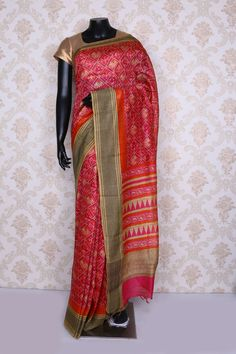 Mesmeric hot pink multi color pure tussar silk printed-SR12543 - Pure Tussar Printed - PURE PRINTED SAREE - Sarees