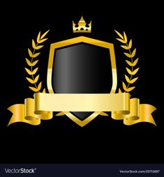 Golden shield with laurel wreath stars and ribbon vector image on VectorStock Team Logo Design, Luxury Logo Design, Event Poster Design, Picture Logo, Photo Logo, Ribbon Png, Banners, Photo Frame Design, Star Logo