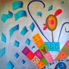 CASA DANZANTE, acrilico sobre tela Tela, Paintings