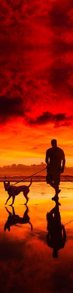 Beach sunset near Kuta beach in Bali
