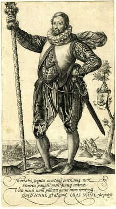 Soldier with baskethilted military sword. 1580s Dutch, by Hendrick Goltzius