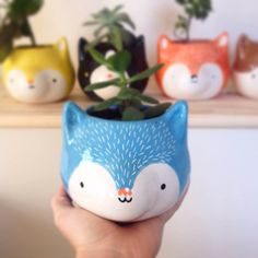 Items similar to Blue Wolf on Etsy, Diy Abschnitt, Flower Planters, Flower Pots, Head Planters, Ceramic Pottery, Ceramic Art, Childrens Mugs, How To Make Clay, Cement Crafts, Clay Animals