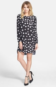long sleeve crepe shift dress / wayf