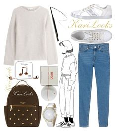 """""""A Drawing Girl 🎨"""" by karilooks ❤ liked on Polyvore featuring Happy Plugs, Helmut Lang, Monki, Hogan, Henri Bendel, Hourglass Cosmetics and HUGO"""