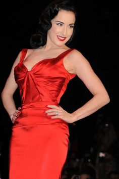 Dita Von Teese on the runway at the Heart Truth's Red Dress Fall 2011 Fashion Show at the Lincoln Centre in NYC.
