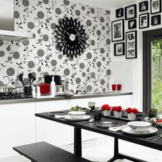 If you are looking for smart kitchen interior designs that you can use for your own home space, this is the article that you should be reading. We will give you some tips on what you can do if you… Kitchen Wallpaper Ideas Uk, Dining Room Wallpaper, Bold Wallpaper, Wallpaper Murals, Wall Murals, Kitchen Wall Art, New Kitchen, Kitchen Walls, Kitchen White