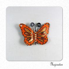 breloque papillon vinyle orange et bronze 4.5 cm