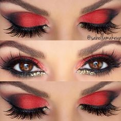 Make up augen lidschatten rot schwarz amzn to 40 amazing red eyeshadow makeup ideas for the coming valentine s day page 32 of 40 Red Eye Makeup, Sexy Makeup, Smokey Eye Makeup, Hair Makeup, Makeup Eyeshadow, Red And Black Eye Makeup, Beauty Makeup, Red Queen Makeup, Queen Of Hearts Makeup