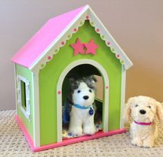 Whimsy dog house pink green for 18 inch American girl pets