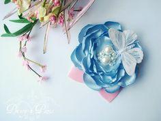 Blue Skies, flower clip. $16.00, via Etsy. http://www.etsy.com/listing/67718265/blue-skies-flower-clip
