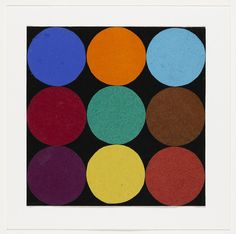 """Nine Colors  Ellsworth Kelly (American, born 1923)    1951. Ink on paper and gouache on paper, 7 1/2 x 8"""" (19 x 20.3 cm). Gift of the artist and purchased with funds provided by Jo Carole and Ronald S. Lauder, Sally and Wynn Kramarsky, Mr. and Mrs. James R. Hedges, IV, Kathy and Richard S. Fuld, Jr. and Committee on Drawings Funds. © 2012 Ellsworth Kelly"""