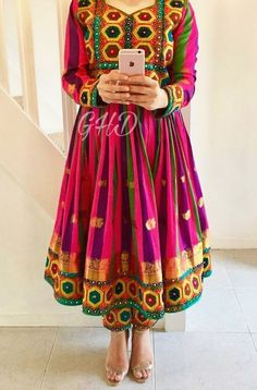 #afghan #style #dress Pakistani Outfits, Indian Outfits, Stylish Dresses, Fashion Dresses, Afghani Clothes, Afghan Dresses, Hippy Chic, Pakistan Fashion, Indian Designer Wear